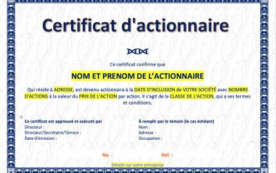 Certificat d'actionnaire
